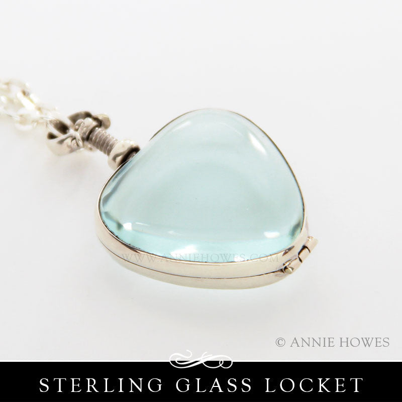 Sterling Silver Glass Locket - Heart