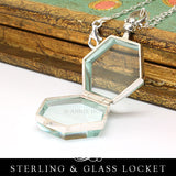 Sterling Silver Glass Locket - Hexagon