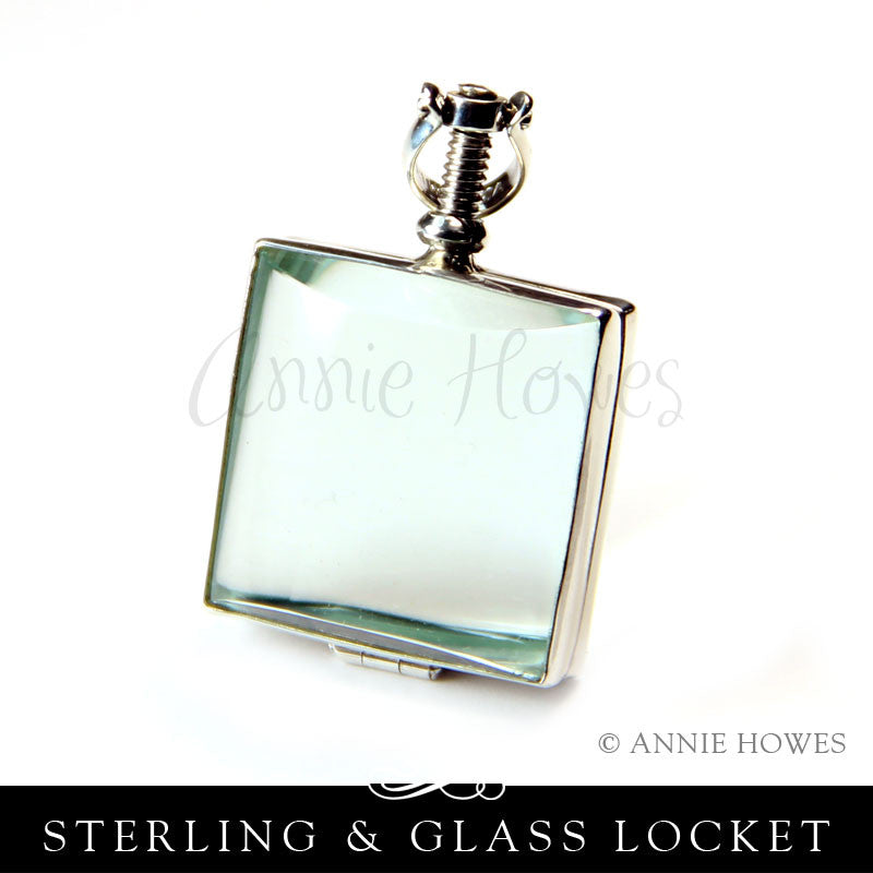 Sterling Silver and Glass Locket - Square