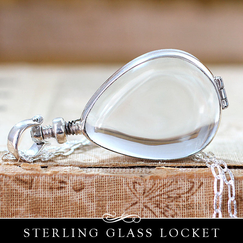 Sterling Silver Glass Locket - Teardrop