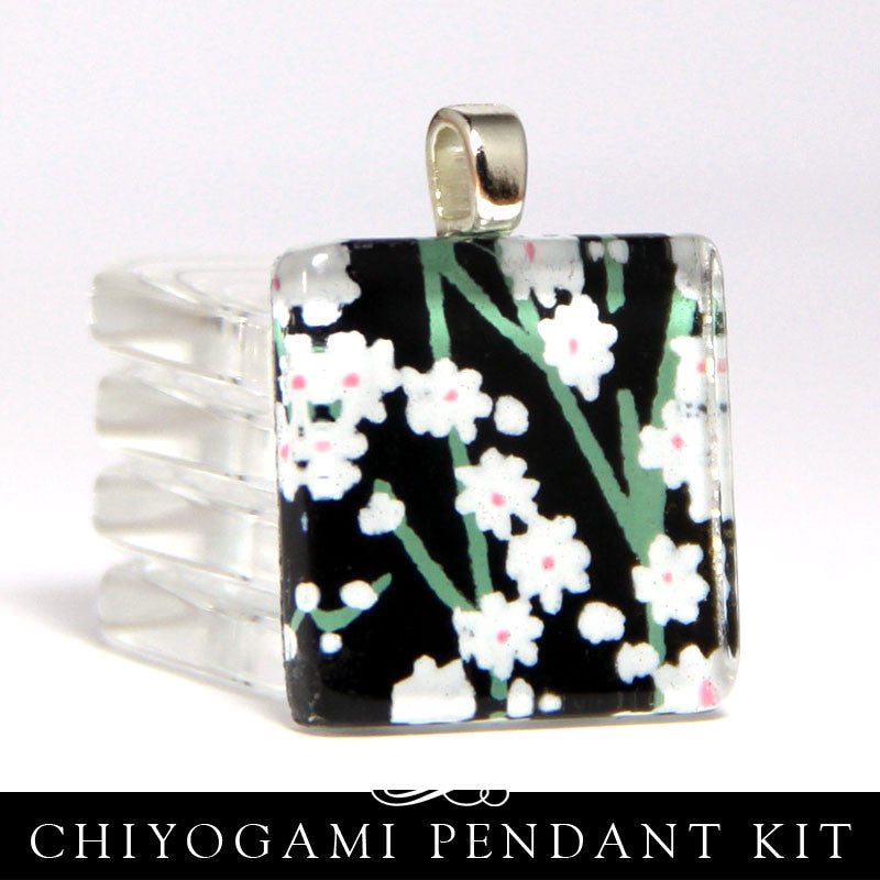 Square Glass Necklace Kit - Chiyogami Papers