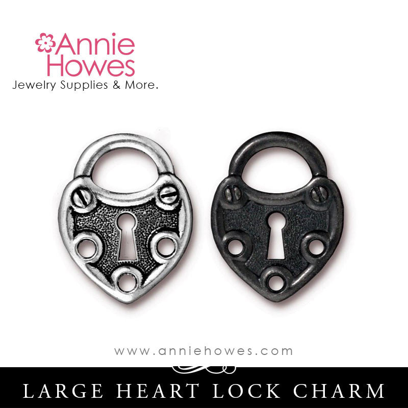 Large Lock Charm. TierraCast.