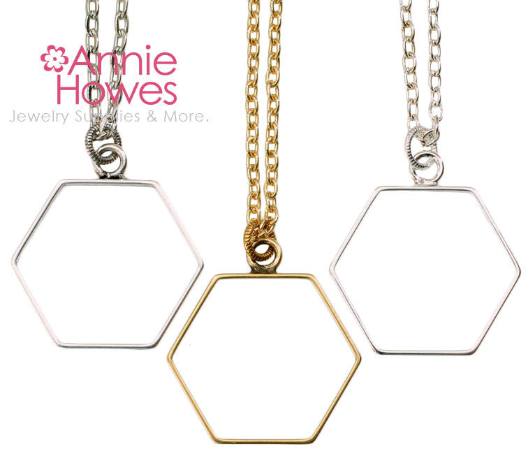 Open Frame Hexagon Necklace