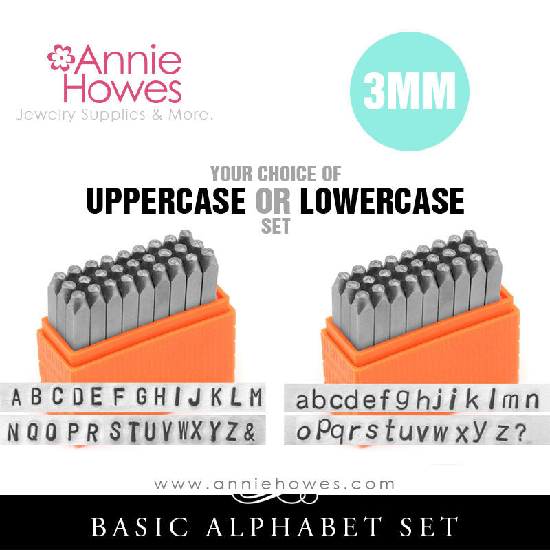 Impressart Metal Stamps - BASIC Alphabet Stamp Uppercase or Lowercase Set