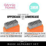 Impressart Metal Stamps - BASIC Alphabet Stamp Uppercase or Lowercase Set 3mm