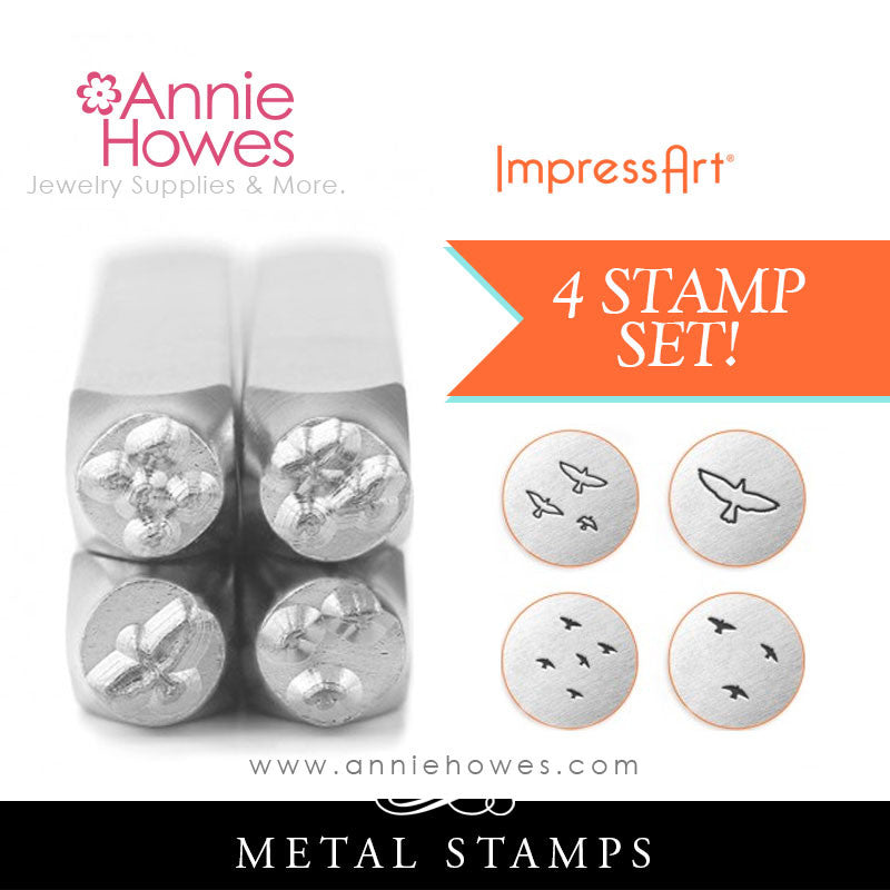 Impressart Metal Stamps - Birds Texture Jewelry Design Stamp Set