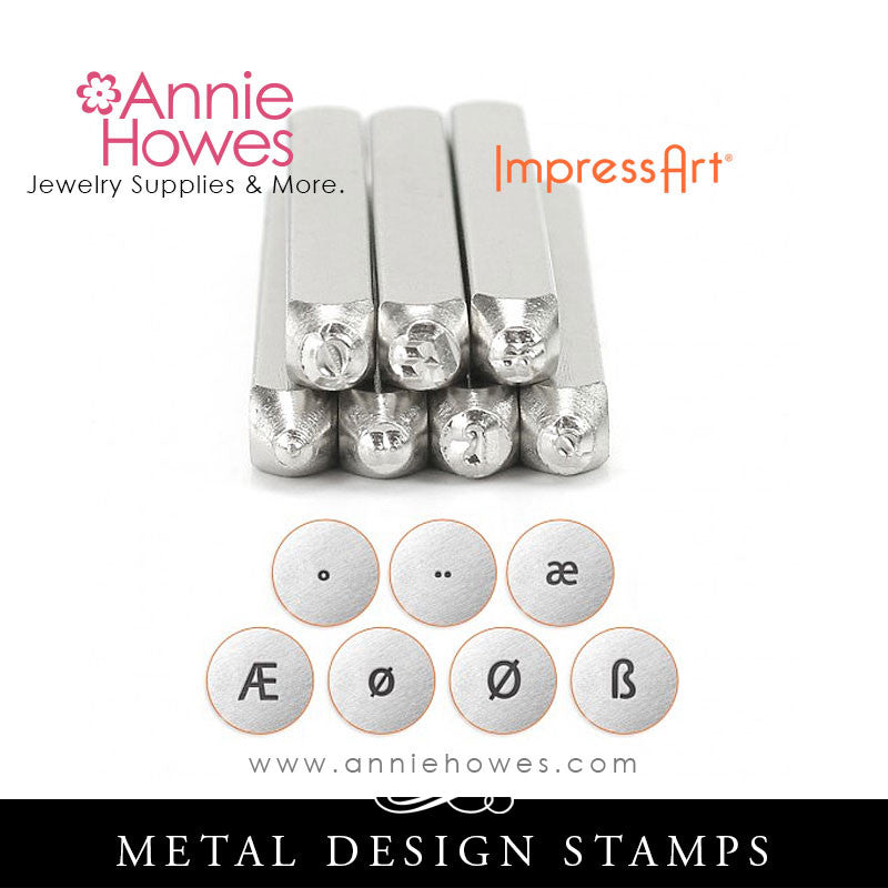 Impressart Metal Stamps - European Vowels Set Design Stamp
