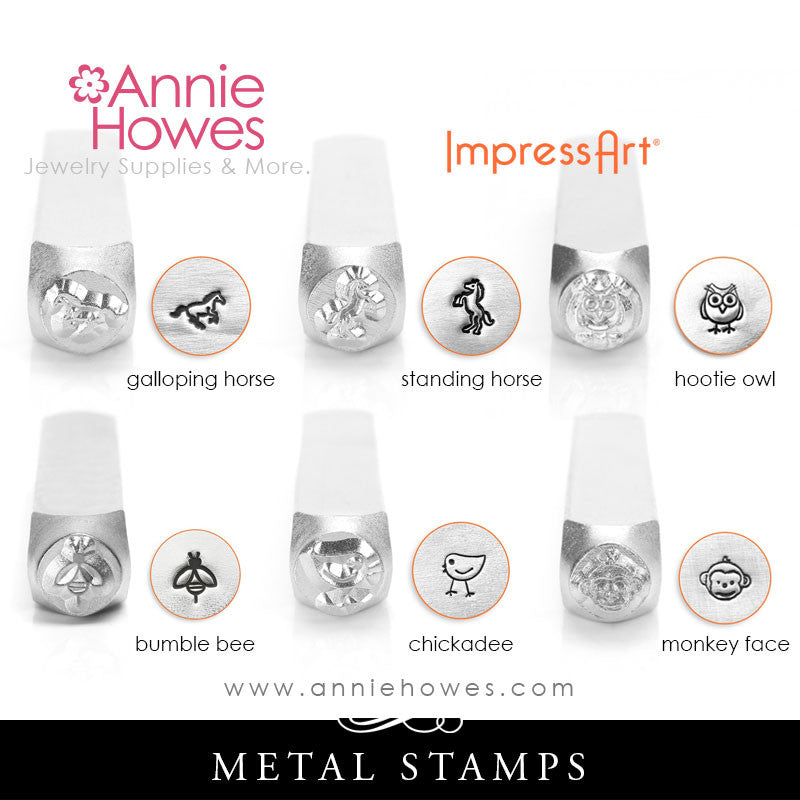 Impressart Metal Stamps - Animal Design Stamp, Horse, Owl, Bumble Bee, Chickadee, Monkey Face, your choice.