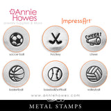 Impressart Metal Stamps - Sports Design Stamps, Soccer, Cheer, Basketball, Volleyball, your choice.