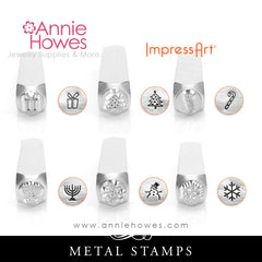 Impressart Metal Stamps - Winter Holiday, Snowman, Snowflake, Christmas Tree, Menorah, Gift, Candy Cane