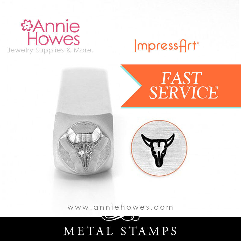 Impressart Metal Stamps - Steer Skull Jewelry Design Stamp