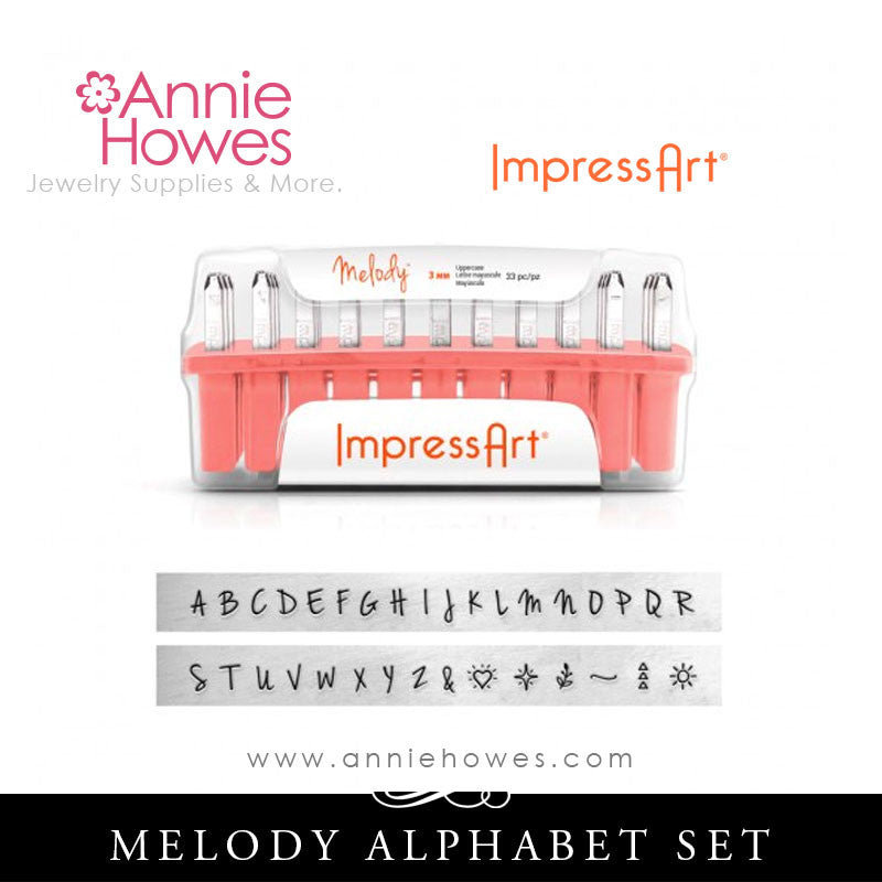 Impressart Metal Stamps - Melody Alphabet Stamp Uppercase Set