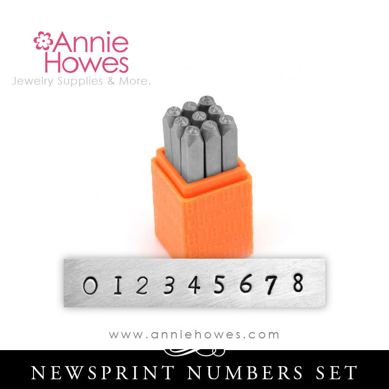 Impressart Metal Stamps - Newsprint Alphabet Stamp Numbers Set