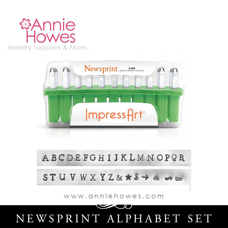 Impressart Metal Stamps - Newsprint Alphabet Stamp Uppercase Set