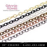Link Chains with Lobster Clasp 30""