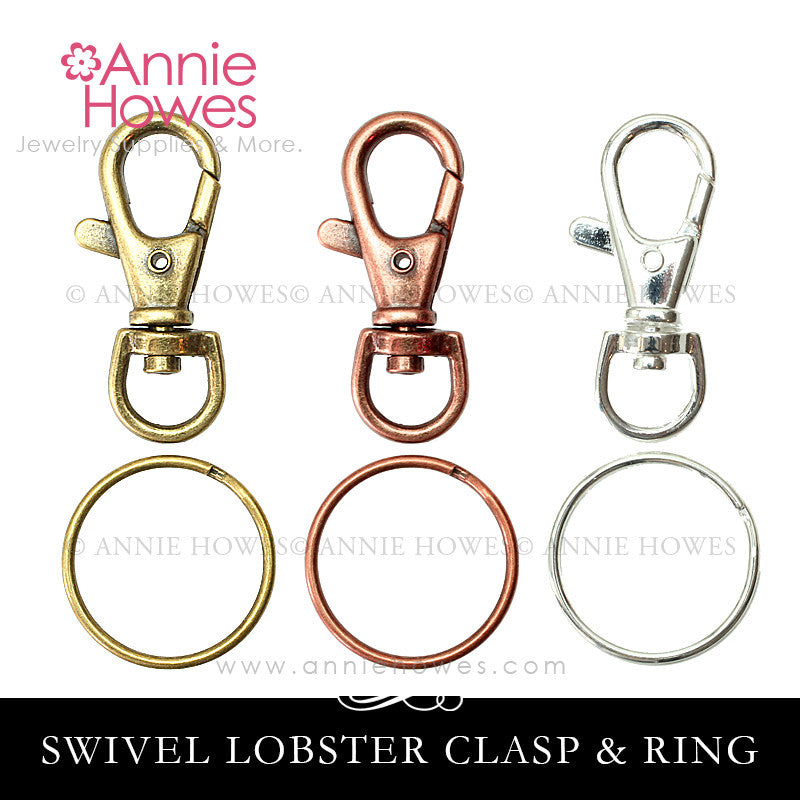 Large Lobster Clasp Purse Clip with Circle Key Rings.