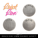 Locket Love 30mm Photo Locket with Word Disc & 1 Focal Crystal. CF.