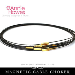 Cable Choker with Gold Plated Magnetic Clasp.