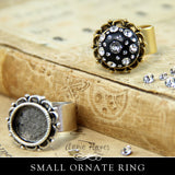 Ornate Ring - Small with Bezel and Wide Adjustable Band. Nunn Design