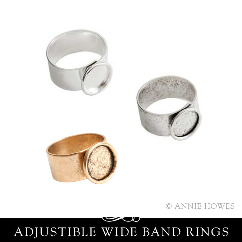 Small Circle Ring with Bezel and Wide Adjustable Band 10mm - Nunn Design