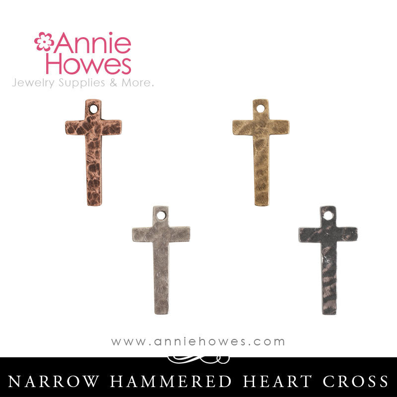 Hammered Cross Charm, Narrow - Nunn Design