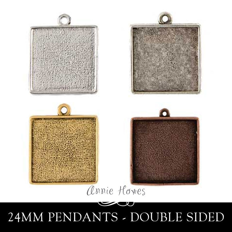 Pendant Tray - 24mm Square Double Sided - DPS Nunn
