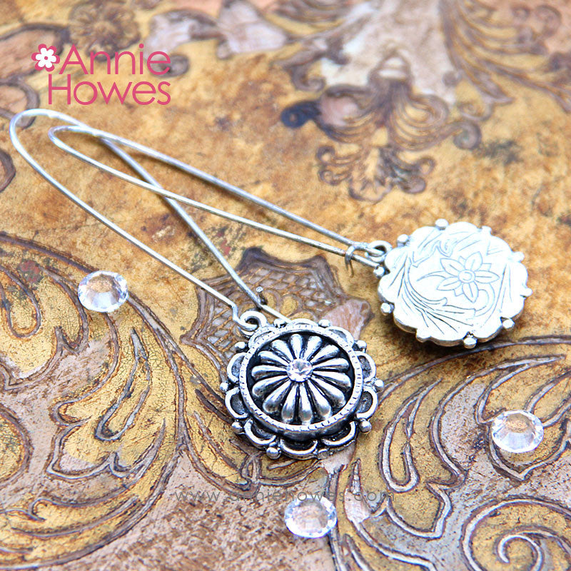 "Ornate ""Petal"" Earrings in Antique Silver"