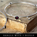 Bangle Bracelet wth Bezel Cup Settings. Nunn Design.
