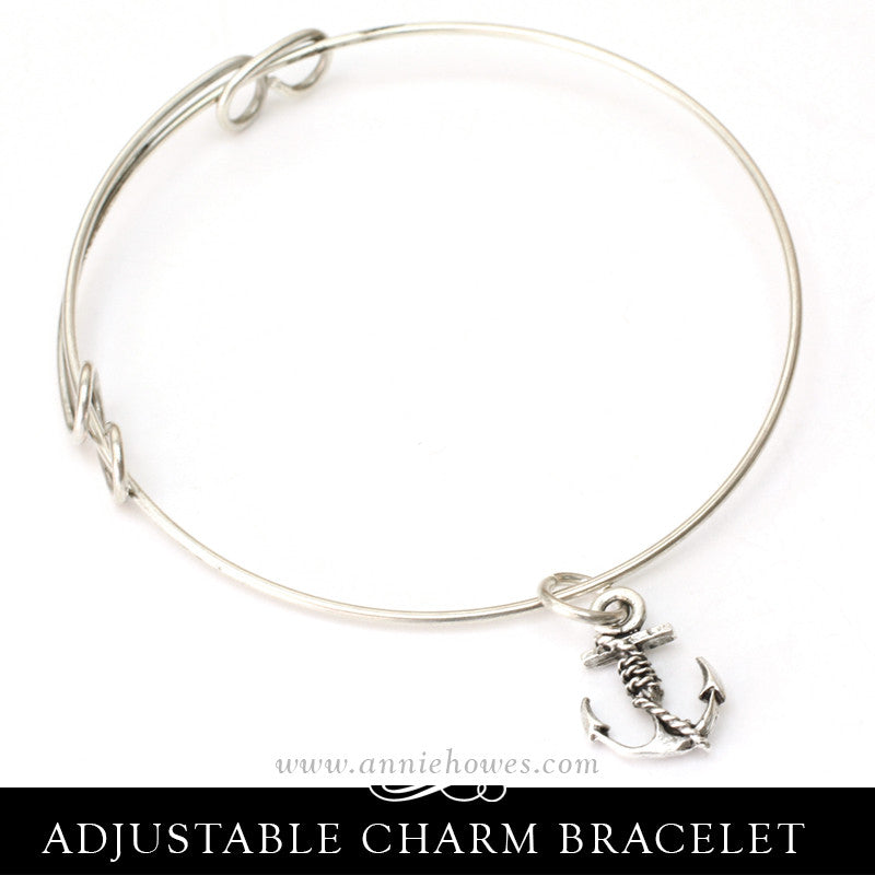 Adjustable Charm Bracelet with Anchor Charm.
