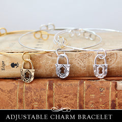 Adjustable Charm Bracelet with Lock Charm.