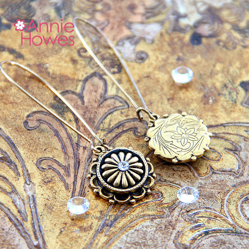 "Ornate ""Petal"" Earrings in Antique Gold"
