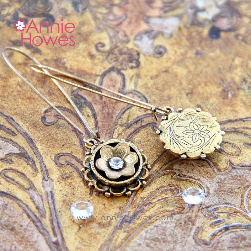 "Ornate ""Fleur"" Earrings in Antique Gold"