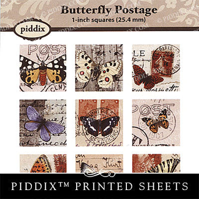 Piddix  - 1 Inch Collage Sheets - Butterfly Postage - Square