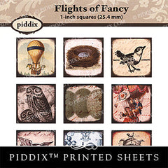 Piddix  - 1 Inch Collage Sheets - Flights of Fancy - Square