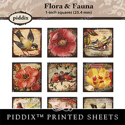 Piddix  - 1 Inch Collage Sheets - Flora & Fauna - Square