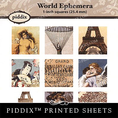 Piddix  - 1 Inch Collage Sheets - World Ephemera - Square