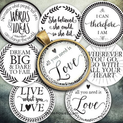"Instant Download of Favorite Quotes 1"" Circle Bottle Cap and Pendant Digital Download Sheet."