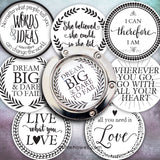 Instant Download of Favorite Quotes 30mm Circle Purse Hanger and Pendant Digital Download Sheet.