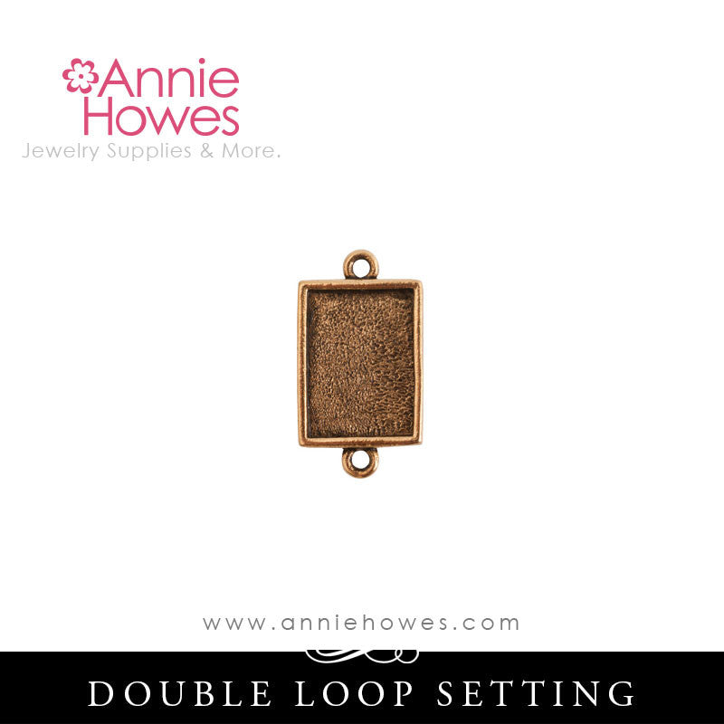 Mini Rectangle Charm Setting - Double Loop - MLDR Nunn Design