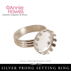 Adjustable Silver Pronged Ring Setting Blank. 13mm Diameter. Nunn Design.