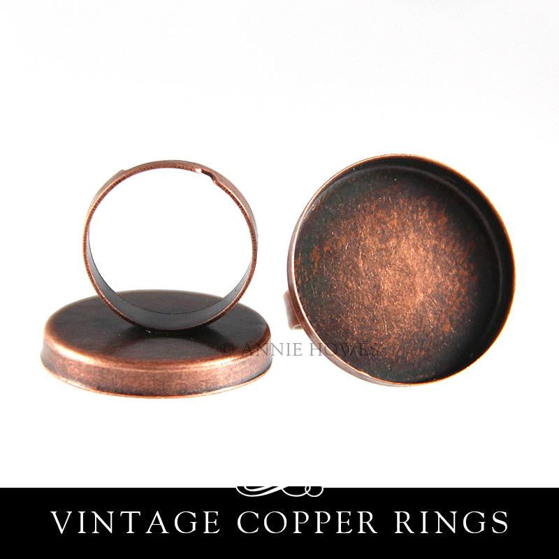 1 inch Rings with Deep Bezel - Vintage Copper - 25 pack