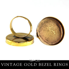 1 inch Ring with Deep Bezel  - Vintage Gold- 25 pack