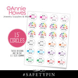 "Instant Download of Safety Pin #safetypin 1"" AND 1.5"" Circle Button Bottle Cap and Pendant Pin Back Printable Sheet."