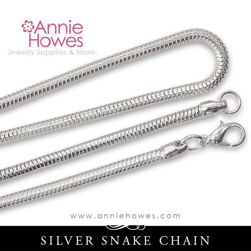 "Snake Chain, 18"" Silver Plated 12 piece pack"