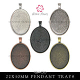 Glass & Pendant Tray Necklace Kit - 22x30 Oval Cabochon Kit