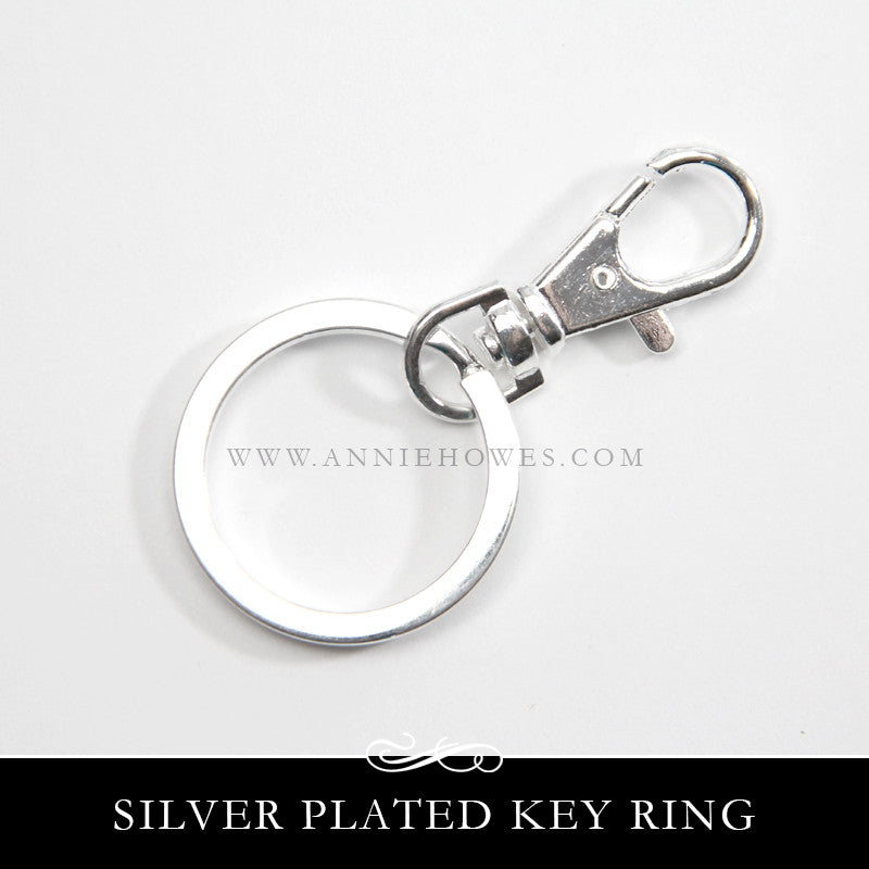 Silver Plated Key Ring with Lobster Clasp Purse Clip