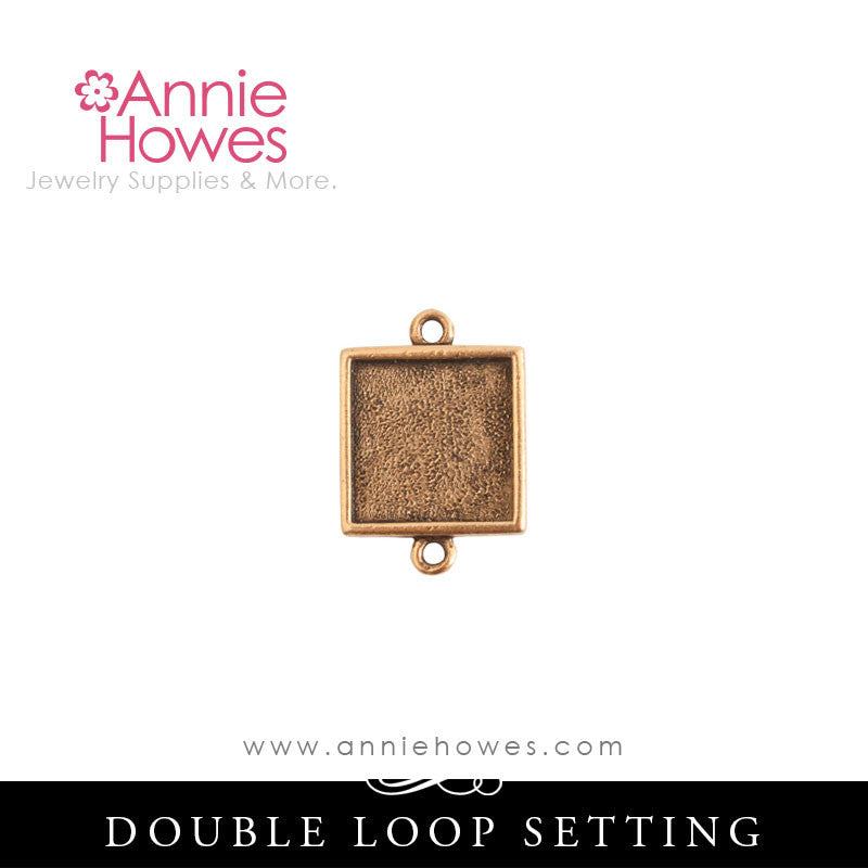 Mini Square Charm Setting - Double Loop - MLDS Nunn Design