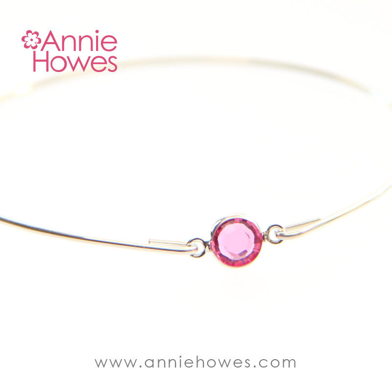 Sterling Silver Wire Bracelet with Swarovski Crystal