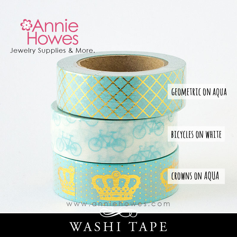 Washi Tape in Aqua and White Bicycle, Gold Foil and Aqua Crown and Pattern