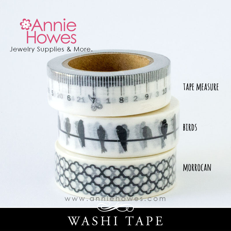 Washi Tape in Black and White Birds, Measuring Tape, Moroccan Pattern